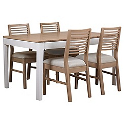 Debenhams - White-washed oak and painted 'Nord' extending table and 4 chairs with cream fabric seats