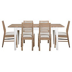 Debenhams - white-washed oak and painted 'Nord' extending table and 6 chairs with cream fabric seats