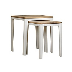 Debenhams - White-washed oak and painted 'Nord' nest of 2 tables