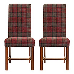 Debenhams - Pair of red tartan 'Elba' upholstered dining chairs
