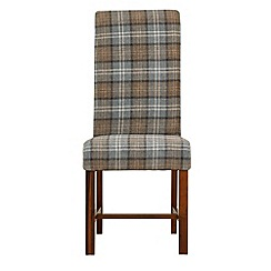 Debenhams - Pair of light blue tartan 'Elba' upholstered dining chairs