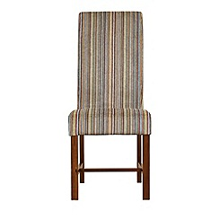 Debenhams - Pair of lime green striped 'Elba' upholstered dining chairs