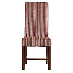Debenhams - Pair of raspberry pink striped 'Elba' upholstered dining chairs
