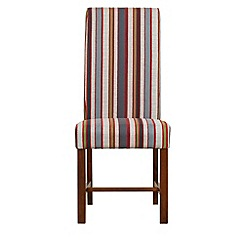 Debenhams - Pair of red wide striped 'Elba' upholstered dining chairs