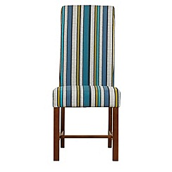 Debenhams - Pair of teal blue wide striped 'Elba' upholstered dining chairs