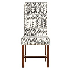 Debenhams - Pair of taupe zig-zag print 'Elba' upholstered dining chairs