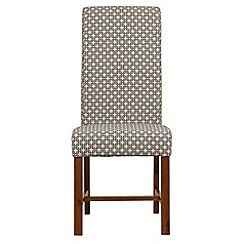 Debenhams - Pair of beige chain print 'Elba' upholstered dining chairs