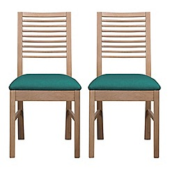 Debenhams - Pair of white-washed oak 'Nord' dining chairs with blue fabric seats