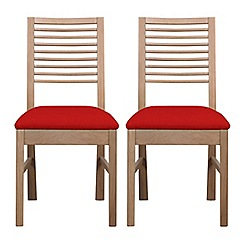 Debenhams - Pair of white-washed oak 'Nord' dining chairs with red fabric seats