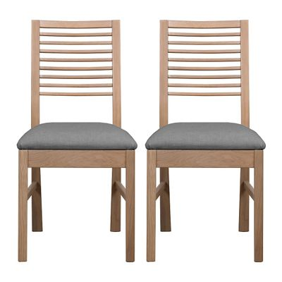 Debenhams Pair of white-washed oak Nord dining chairs with