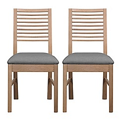 Debenhams - Pair of white-washed oak 'Nord' dining chairs with grey fabric seats