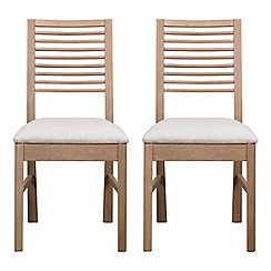Debenhams - Pair of white-washed oak 'Nord' dining chairs with beige fabric seats