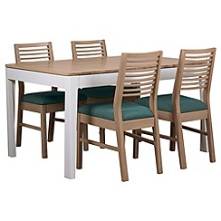 Debenhams - White-washed oak and painted 'Nord' extending table and 4 chairs with blue fabric seats
