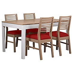 Debenhams - White-washed oak and painted 'Nord' extending table and 4 chairs with red fabric seats