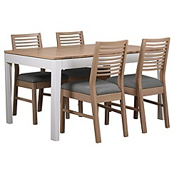 Debenhams - White-washed oak and painted 'Nord' extending table and 4 chairs with grey fabric seats