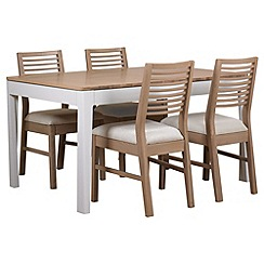 Debenhams - White-washed oak and painted 'Nord' extending table and 4 chairs with beige fabric seats