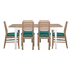 Debenhams - White-washed oak and painted 'Nord' extending table and 6 chairs with blue fabric seats