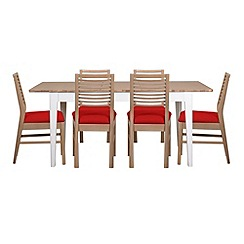 Debenhams - White-washed oak and painted 'Nord' extending table and 6 chairs with red fabric seats