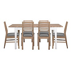 Debenhams - White-washed oak and painted 'Nord' extending table and 6 chairs with grey fabric seats