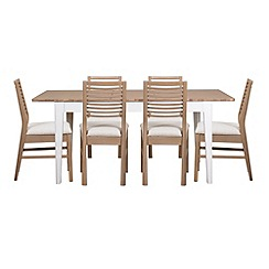 Debenhams - White-washed oak and painted 'Nord' extending table and 6 chairs with beige fabric seats