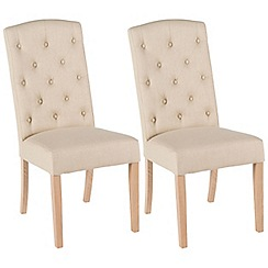 Willis & Gambier - Pair of camel beige 'Stanza' button back upholstered dining chairs