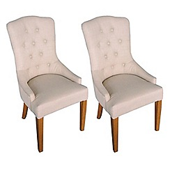 Willis & Gambier - Pair of camel beige 'Paris' button back upholstered carver dining chairs