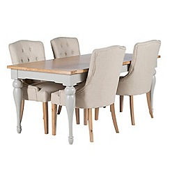 Willis & Gambier - Oak and painted 'Worcester' large extending table and 4 beige 'Paris' carver chairs