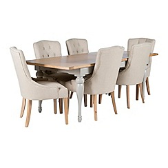 Willis & Gambier - Oak and painted 'Worcester' large extending table and 6 beige 'Paris' carver chairs