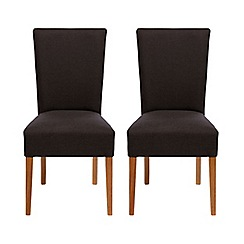 Debenhams - Pair of grey 'Smithfield' wing back upholstered dining chairs