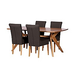 Debenhams - Oak finished 'Smithfield' fixed-top table and 4 grey wing back chairs