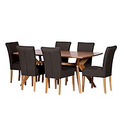 Debenhams - Oak finished 'Smithfield' fixed-top table and 6 grey wing back chairs