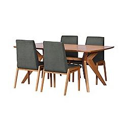 Debenhams - Oak finished 'Smithfield' fixed-top table and 4 grey upholstered chairs