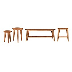 Debenhams - Oak finished 'Smithfield' coffee, side and nest of tables set
