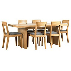 RJR.John Rocha - Oak finished 'Elements' fixed-top table and 6 chairs with grey woollen seat pads