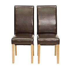 Willis & Gambier - Pair of brown 'Monterey' upholstered dining chairs