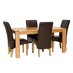 Willis & Gambier - Oak 'Monterey' small extending table and 4 brown upholstered chairs
