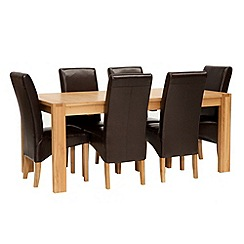 Willis & Gambier - Oak 'Monterey' large extending table and 6 brown upholstered chairs