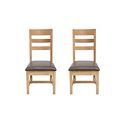 Willis & Gambier - Pair of oak 'Normandy' ladder back dining chairs with dark brown seat pads