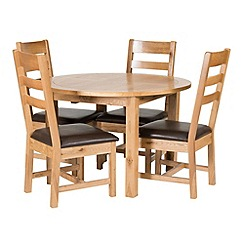 Willis & Gambier - Oak 'Normandy' round extending table and 4 ladder back chairs