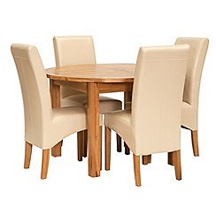 Willis & Gambier - Oak 'Normandy' round extending table and 4 cream upholstered chairs