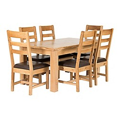Willis & Gambier - Oak 'Normandy' large extending table and 6 ladder back chairs