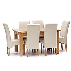 Willis & Gambier - Oak 'Normandy' large extending table and 6 cream upholstered chairs