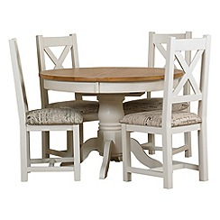 Debenhams - Oak and painted 'Wadebridge' round extending table and 4 chairs with printed seats