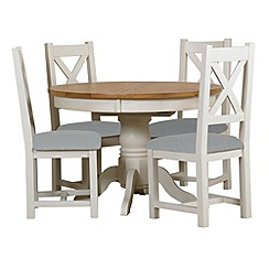 Debenhams - Oak and painted 'Wadebridge' round extending table and 4 chairs with blue fabric seats