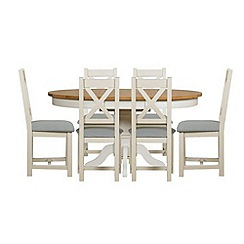 Debenhams - Oak and painted 'Wadebridge' round extending table and 6 chairs with blue fabric seats