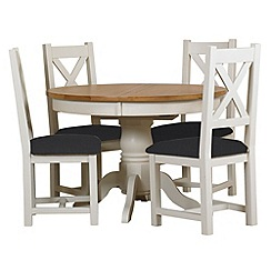 Debenhams - Oak and painted 'Wadebridge' round extending table and 4 chairs with steel grey seats