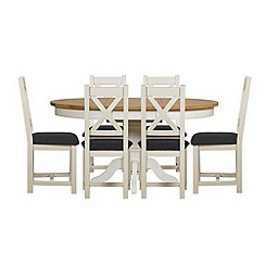 Debenhams - Oak and painted 'Wadebridge' round extending table and 6 chairs with steel grey seats