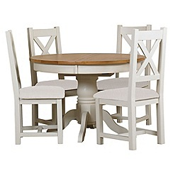 Debenhams - Oak and painted 'Wadebridge' round extending table and 4 chairs with cream seats