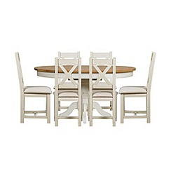 Debenhams - Oak and painted 'Wadebridge' round extending table and 6 chairs with cream seats