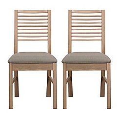 Debenhams - Pair of white-washed oak 'Nord' dining chairs with ivory fabric seats